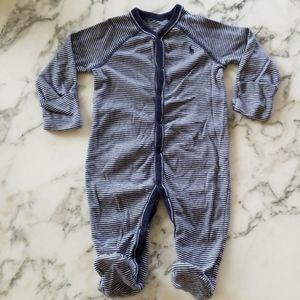 Blue/White Striped Footed Onesies, Size 6 Months